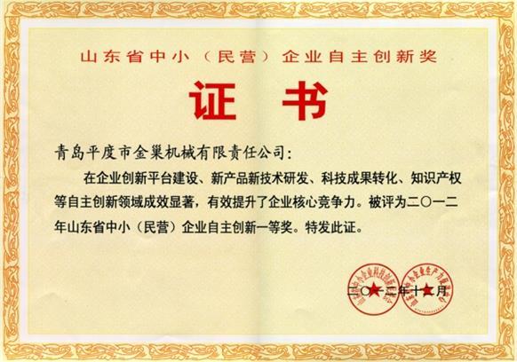 中小企业自主创新奖荣誉证书副本